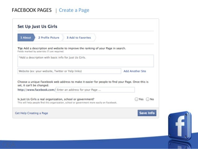 FACEBOOK PAGES  Create a Page