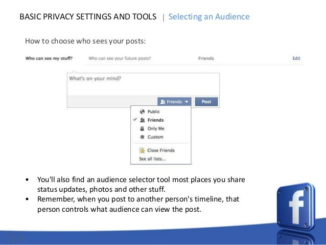 BASIC PRIVACY SETTINGS AND TOOLS  Selecting an Audience  How to choose who sees your posts:  • •  You'll also find an audi...