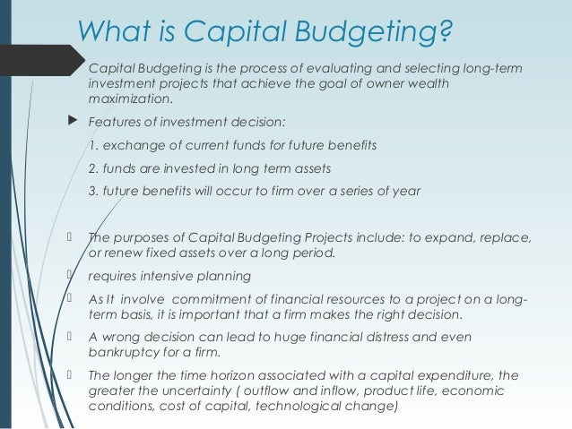 phases of capital budgeting Capital budgeting analysis project mba 612 the general capital budgeting process and how it is implemented within organizations the general capital budgeting process is the tool by which.