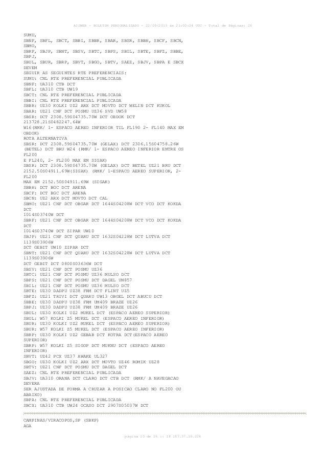 AISWEB - BOLETIM PERSONALIZADO - 22/09/2013 às 21:00:24 UTC - Total de Páginas: 26 página 10 de 26 :: IP 187.37.19.224 SUM...