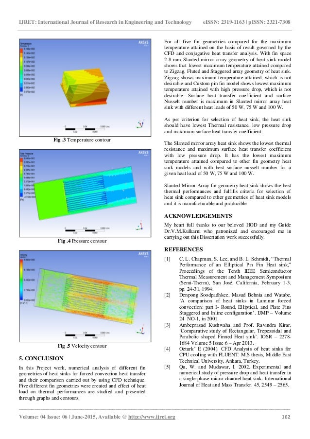 Cfd and conjugate heat transfer analysis of heat sinks with