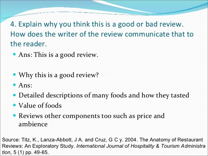 how to write a restaurant review example
