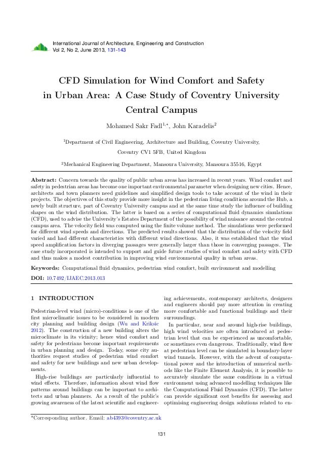 International Journal of Architecture, Engineering and Construction Vol 2, No 2, June 2013, 131-143 CFD Simulation for Win...
