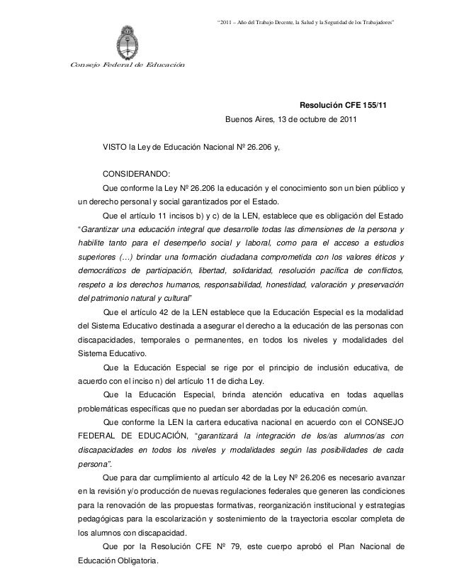 """""""2011 – Año del Trabajo Decente, la Salud y la Seguridad de los Trabajadores""""Consejo Federal de Educación                 ..."""