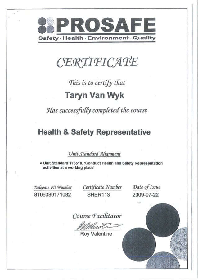 Certificate health safety rep prosafe for Health and safety certificate template