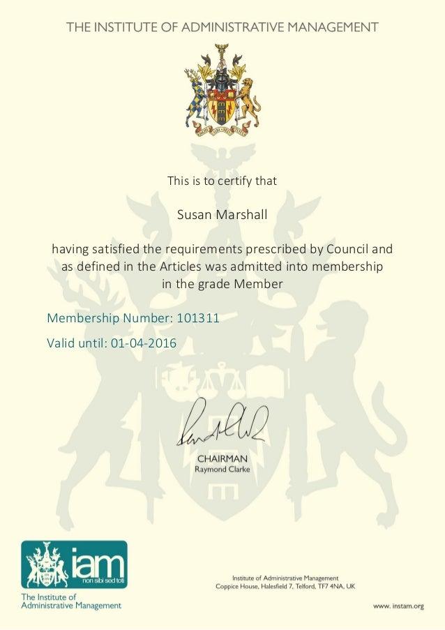 susan marshall iam certificate