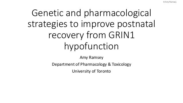 Genetic and pharmacological strategies to improve postnatal recovery from GRIN1 hypofunction Amy Ramsey Department of Phar...