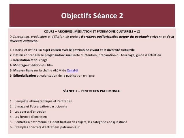 COURS – ARCHIVES, MÉDIATION ET PATRIMOINE CULTUREL I – L2 Conception, production et diffusion de projets d'archives audio...