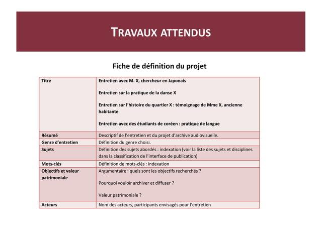 Fi Fiche de définition du projet TRAVAUX ATTENDUS Titre Entretien avec M. X, chercheur en Japonais Entretien sur la pratiq...