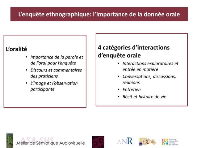 4 catégories d'interactions d'enquête orale • Interactions exploratoires et entrée en matière • Conversations, discussions...