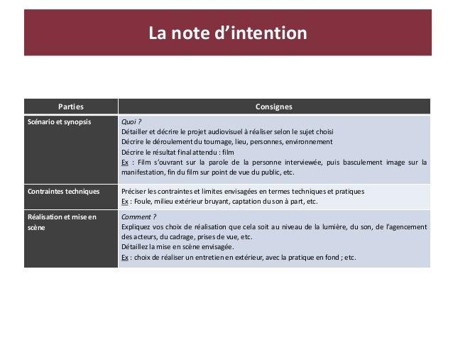 La note d'intention Parties Consignes Scénario et synopsis Quoi ? Détailler et décrire le projet audiovisuel à réaliser se...