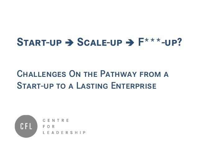 Start-up  Scale-up  F***-up? Challenges On the Pathway from a Start-up to a Lasting Enterprise