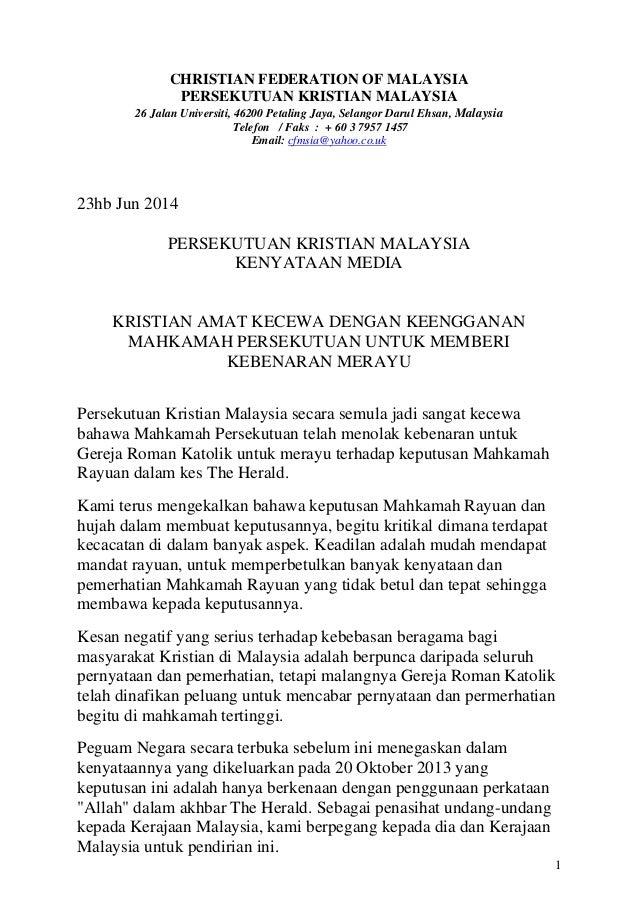 1 CHRISTIAN FEDERATION OF MALAYSIA PERSEKUTUAN KRISTIAN MALAYSIA 26 Jalan Universiti, 46200 Petaling Jaya, Selangor Darul ...