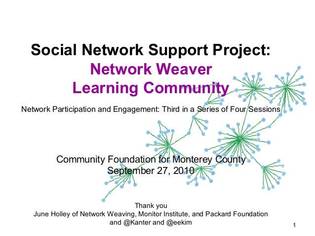 Social Network Support Project: Network Weaver Learning Community Network Participation and Engagement: Third in a Series ...