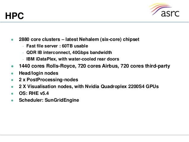 HPC 2880 core clusters – latest Nehalem (six-core) chipset- Fast file server : 60TB usable- QDR IB interconnect, 40Gbps b...