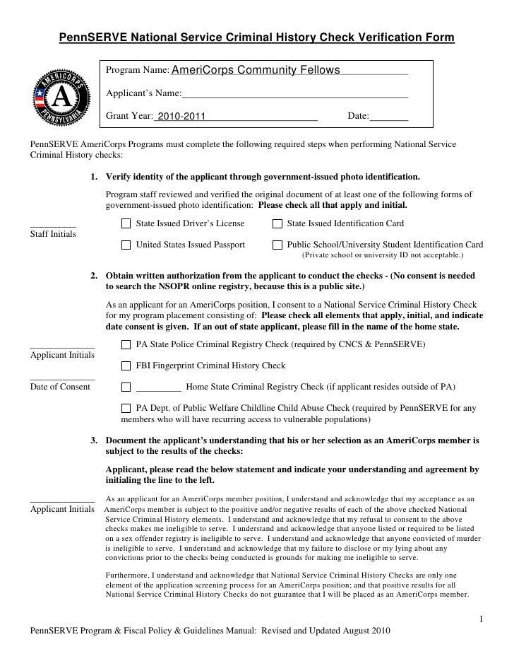 Cf national service criminal history check verification form
