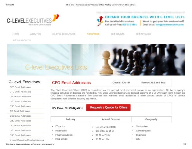CFO Email List helps marketers to reach CFOs in USA and UK