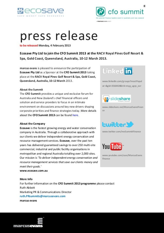 Ecosave Pty Ltd to join the CFO Summit 2013 at the RACV Royal Pines G…