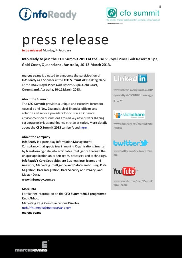 press releaseto be released Monday, 4 FebruaryInfoReady to join the CFO Summit 2013 at the RACV Royal Pines Golf Resort & ...