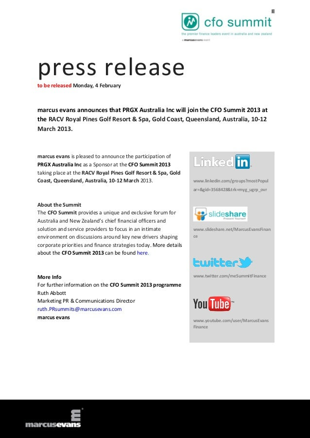 press releaseto be released Monday, 4 Februarymarcus evans announces that PRGX Australia Inc will join the CFO Summit 2013...
