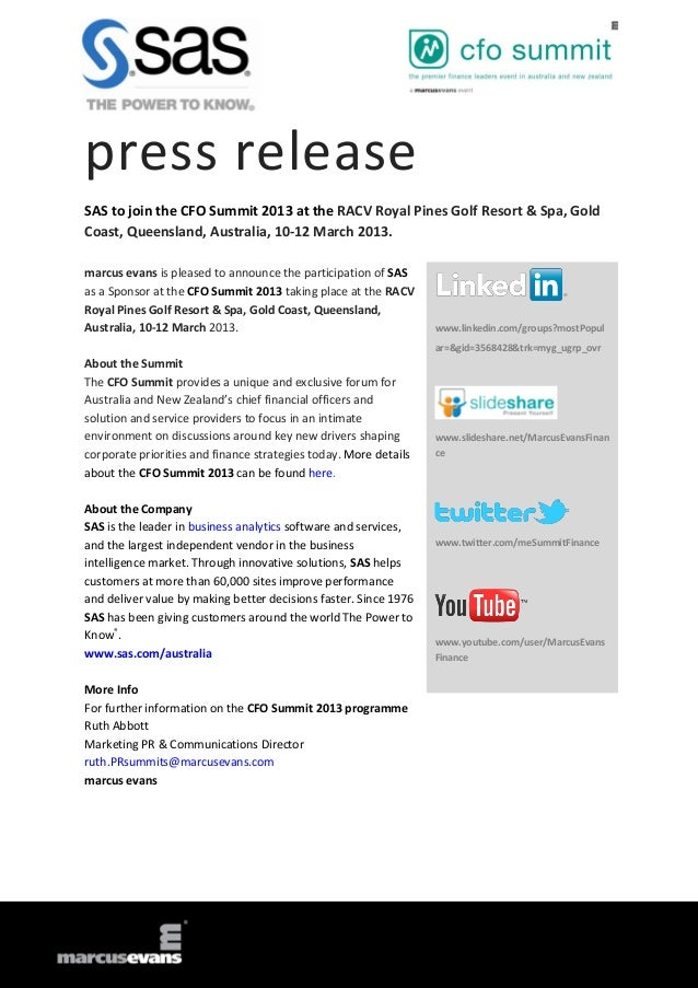 press releaseSAS to join the CFO Summit 2013 at the RACV Royal Pines Golf Resort & Spa, GoldCoast, Queensland, Australia, ...