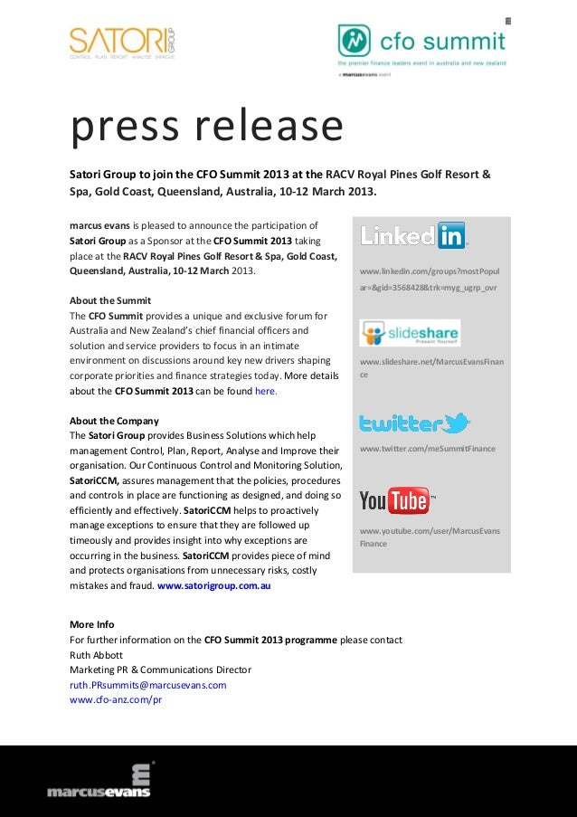 press releaseSatori Group to join the CFO Summit 2013 at the RACV Royal Pines Golf Resort &Spa, Gold Coast, Queensland, Au...
