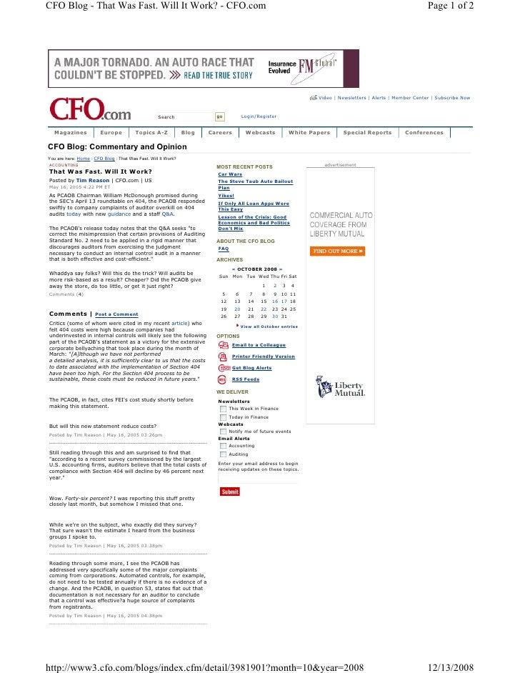 CFO Blog - That Was Fast. Will It Work? - CFO.com                                                                         ...