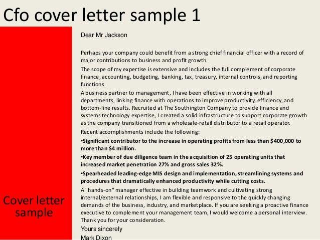 Cfo cover letter