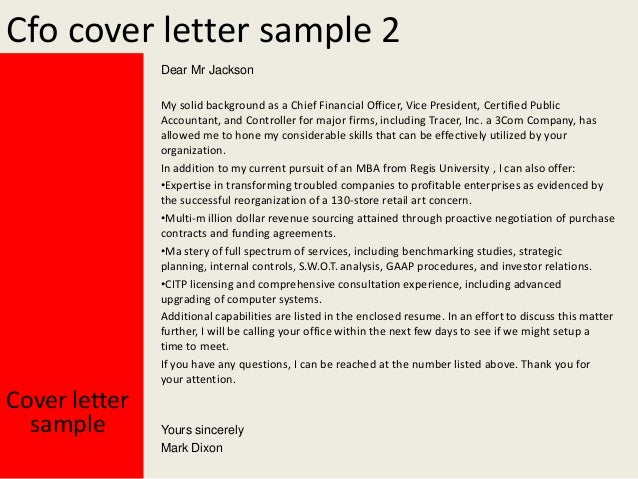 Yours Sincerely; 3. Cfo Cover Letter ...