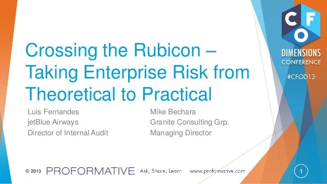 1© 2013 Crossing the Rubicon – Taking Enterprise Risk from Theoretical to Practical Luis Fernandes Mike Bechara jetBlue Ai...
