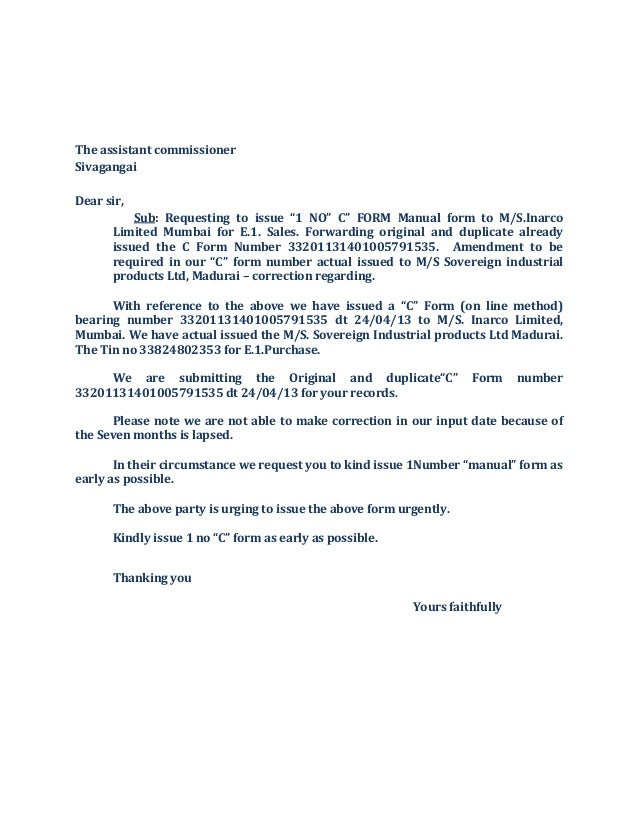 C f orm covering letter the assistant commissioner sivagangai dear sir sub requesting to issue 1 no spiritdancerdesigns