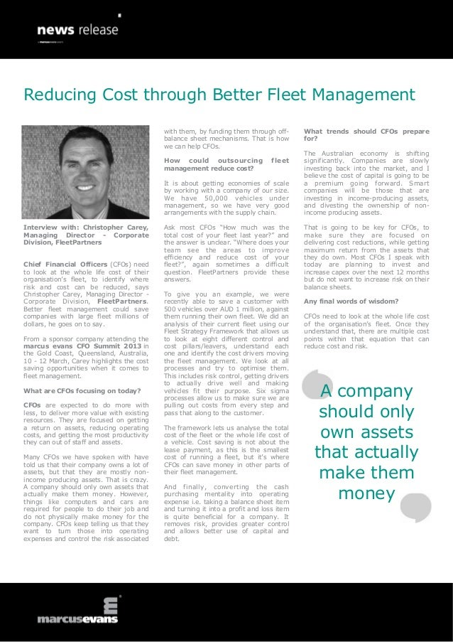 Reducing Cost through Better Fleet Management                                            with them, by funding them throug...