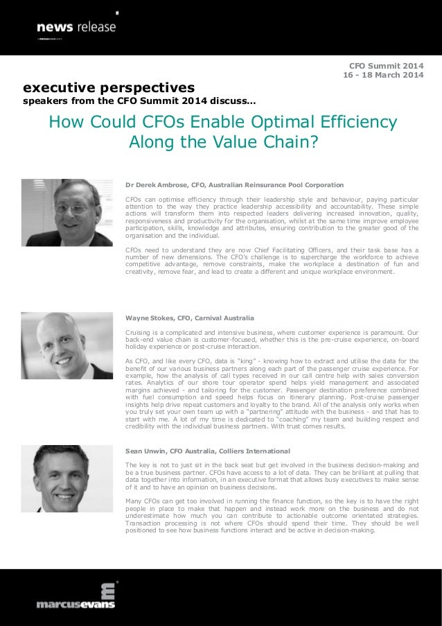 CFO Summit 2014 16 - 18 March 2014  executive perspectives speakers from the CFO Summit 2014 discuss…  How Could CFOs Enab...