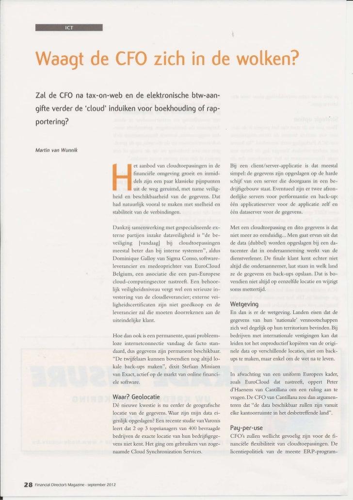 FD Magazine - artikel 'Waagt de CFO zich in de wolken?'