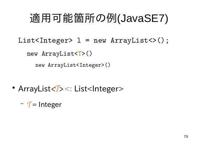 79 適用可能箇所の例(JavaSE7) List<Integer> l = new ArrayList<>(); new ArrayList<T>() new ArrayList<Integer>() ● ArrayList<T><: Li...