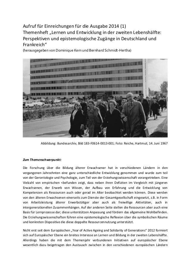 """Aufruf  für  Einreichungen  für  die  Ausgabe  2014  (1)     Themenheft  """"Lernen  und  Entwicklung..."""