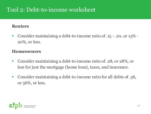 CFPB Your Money Your Goals Toolkit Training – Debt to Income Worksheet