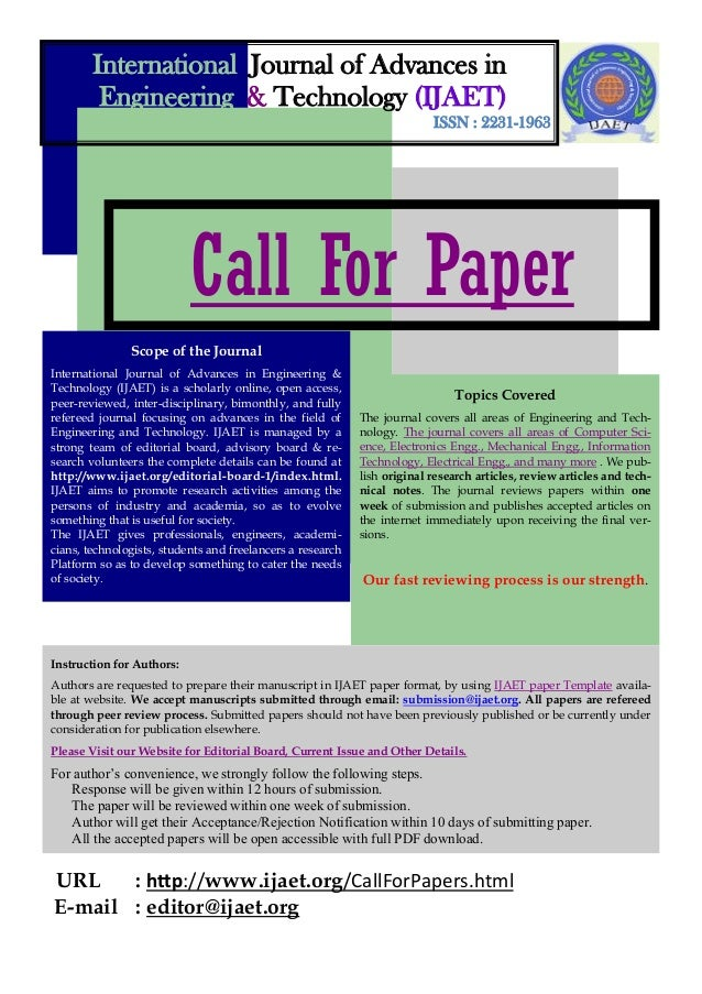 International Journal of Advances in Engineering & Technology (IJAET) ISSN : 2231-1963  Call For Paper Scope of the Journa...