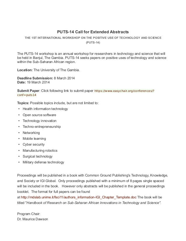PUTS-14 Call for Extended Abstracts THE 1ST INTERNATIONAL WORKSHOP ON THE POSITIVE USE OF TECHNOLOGY AND SCIENCE (PUTS-14)...