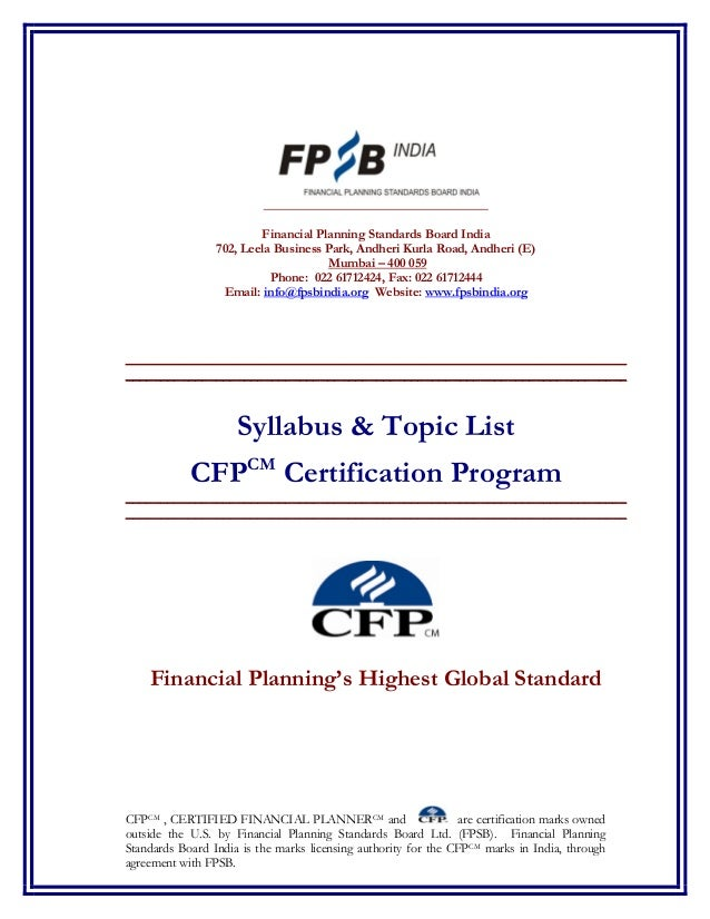 Cfp Revised Syllabus