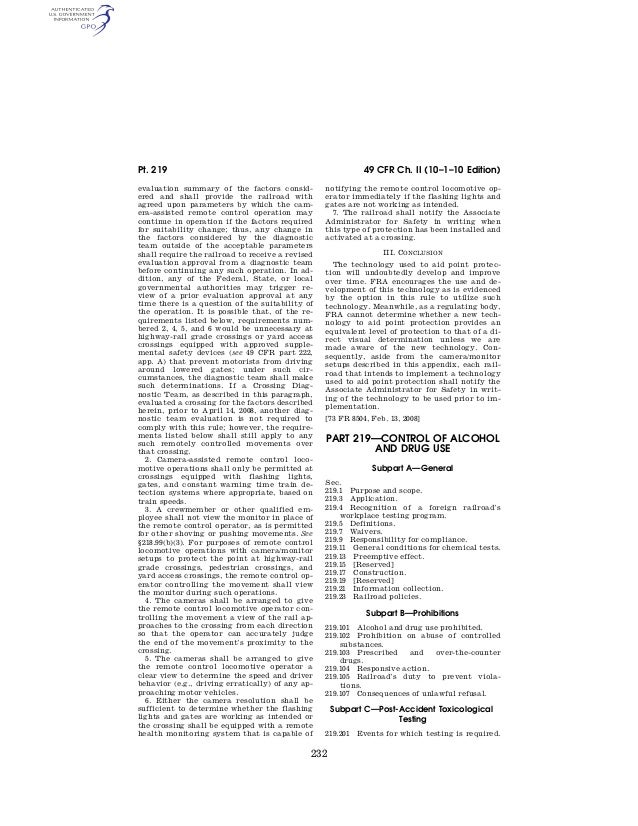 Pt. 219                                                                49 CFR Ch. II (10–1–10 Edition)                    ...
