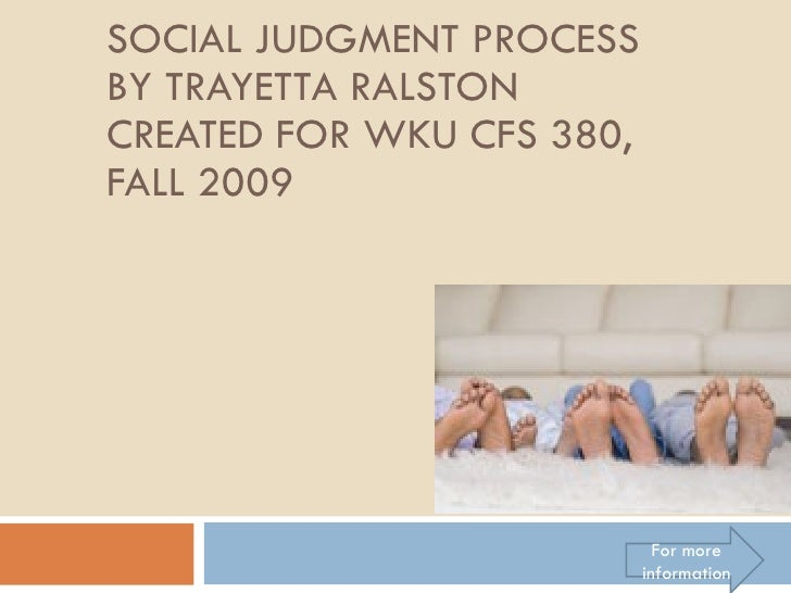 SOCIAL JUDGMENT PROCESS BY TRAYETTA RALSTON CREATED FOR WKU CFS 380, FALL 2009 For more information