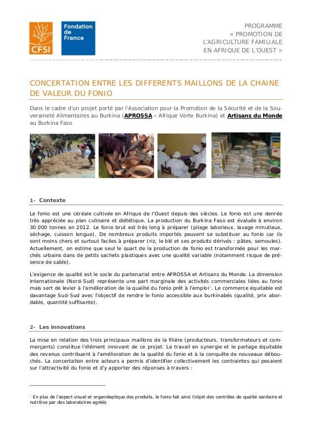 PROGRAMME « PROMOTION DE L'AGRICULTURE FAMILIALE EN AFRIQUE DE L'OUEST » …………………………………………………………………………………………………………………………………...
