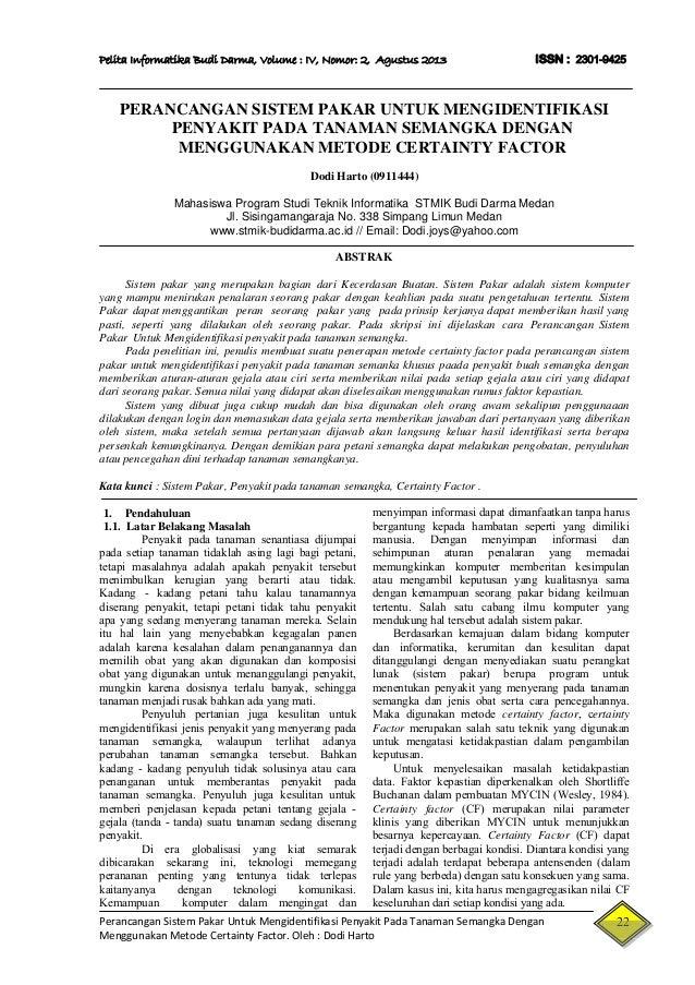 Jurnal Sistem Pakar Penyakit Tanaman Dengan Menggunakn Metode Certain