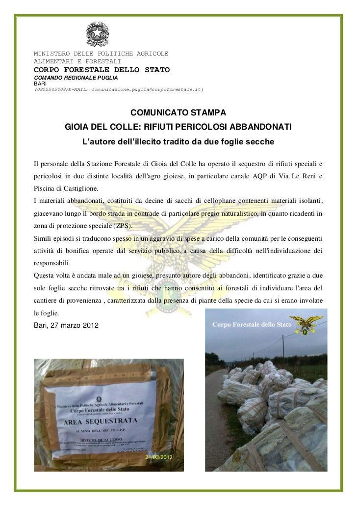 MINISTERO DELLE POLITICHE AGRICOLEALIMENTARI E FORESTALICORPO FORESTALE DELLO STATOCOMANDO REGIONALE PUGLIABARI(0805545408...