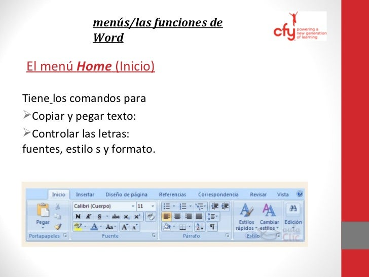 menús/las funciones de WordEl menú Review (Repaso)Se usa para:•El programa puede revisar la            • Usar el tesauro (...