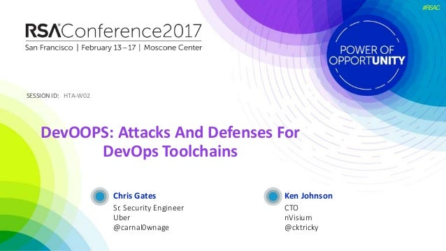 SESSION ID:SESSION ID: #RSAC Chris Gates DevOOPS: Attacks And Defenses For DevOps Toolchains HTA-W02 Sr. Security Engineer...