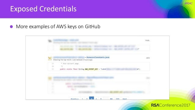 #RSAC Exposed Credentials More examples of AWS keys on GitHub