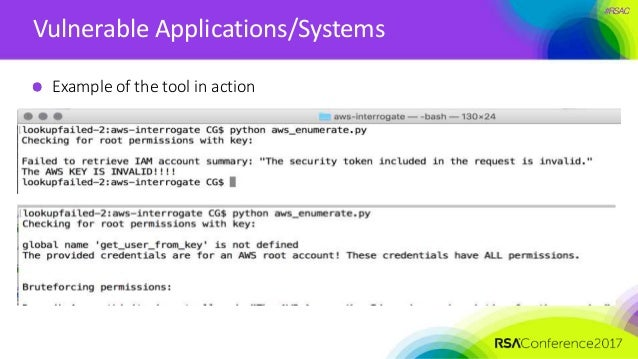 #RSAC Vulnerable Applications/Systems Example of the tool in action