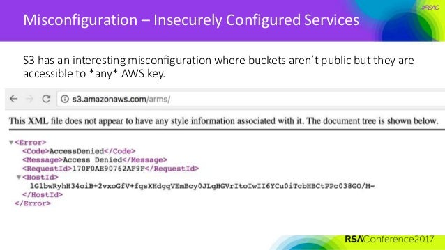#RSAC Misconfiguration – Insecurely Configured Services S3 has an interesting misconfiguration where buckets aren't public...